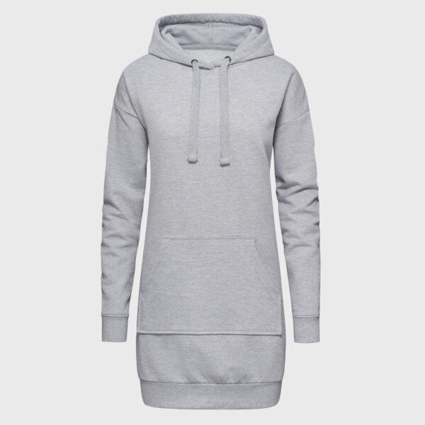Hoodie-Kleid Kapuzenkleid heather grey selbst gestalten mit Motiven