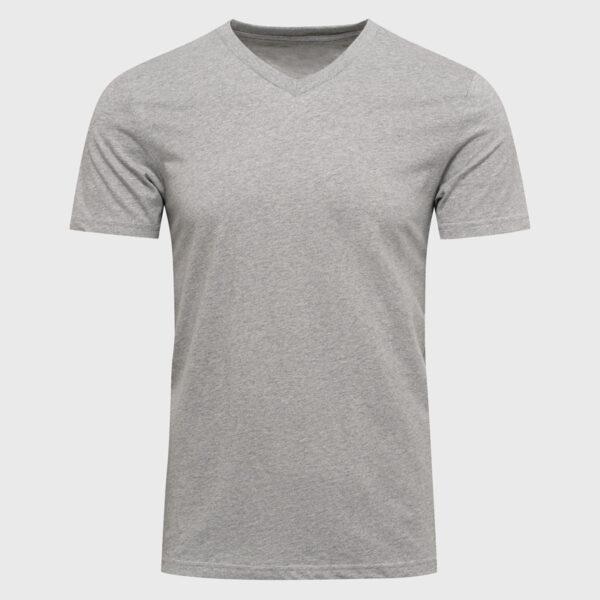 V-Neck Männer Tee Shirt aus Bio baumwolle in sports grey zum Bedrucken