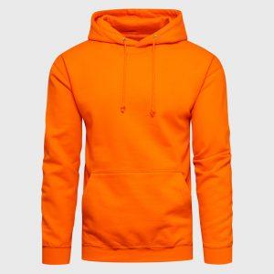 College Männer Hoodie orange mit Kapuze und Kängurutasche zum Gestalten