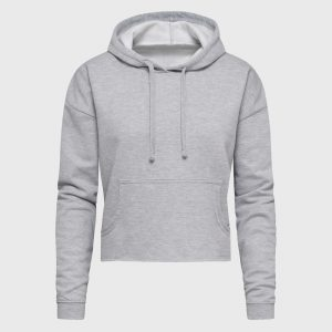Crop Hoodie Bauchfrei in heather grey selbst designen