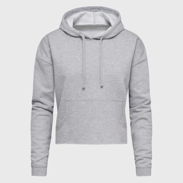 Crop Hoodie Bauchfrei in heather grey selbst designen