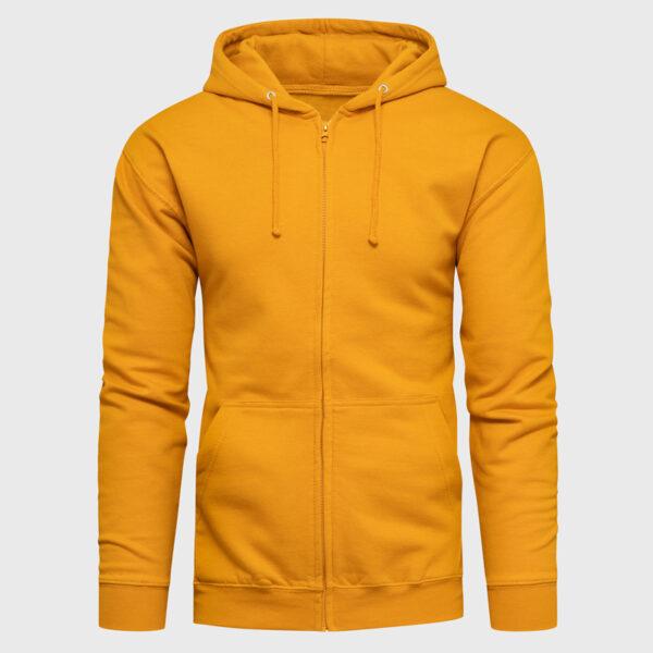 Männer Hoodie mit Reißverschluss in der Farbe mustard mit Kapuze und Kängurutaschen und Bündchen in gleicher Farbe