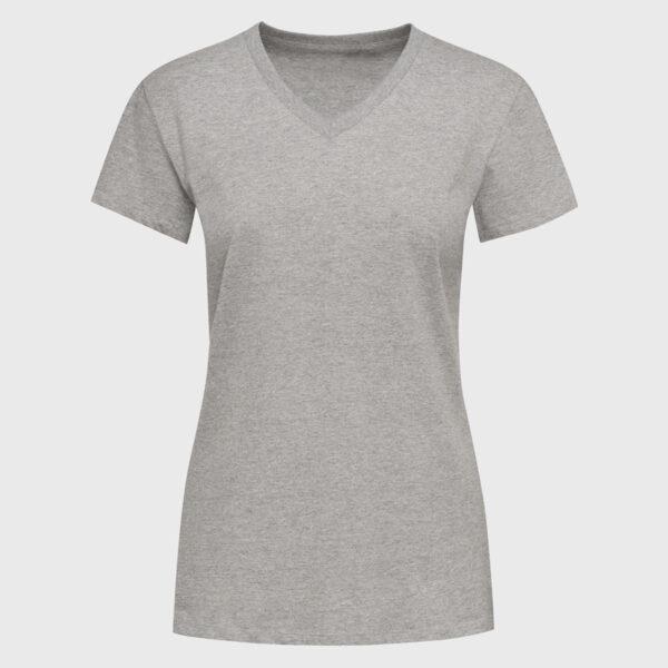 V-Neck T-Shirt für Frauen sports grey Bio-baumwolle selbst gestalten