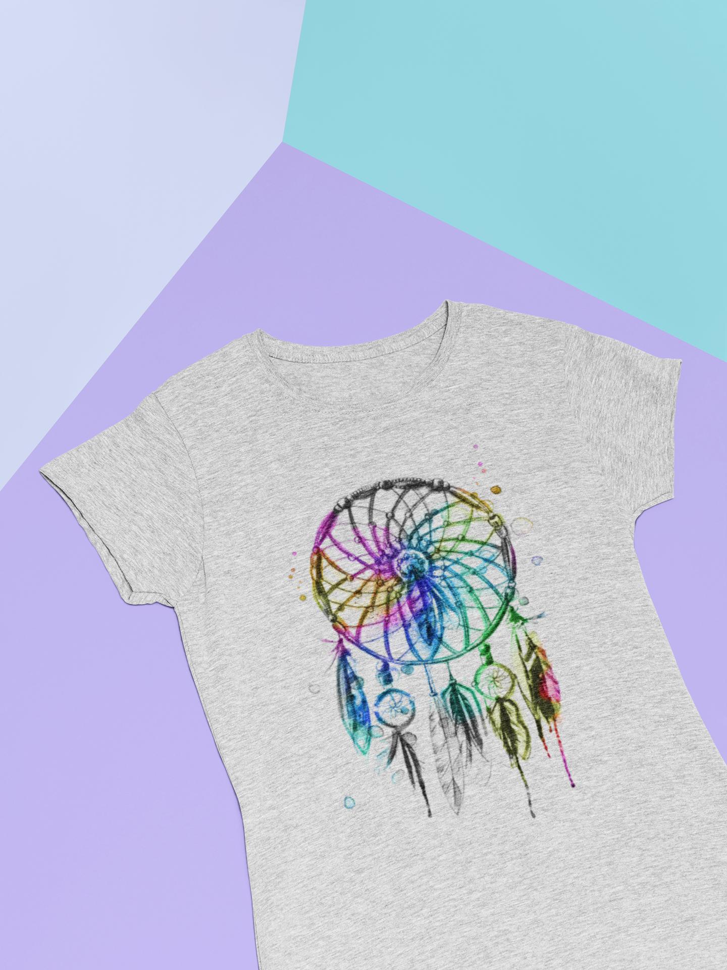 Boho-Feder-T-Shirt für Frauen in grau meliert mit buntem Boho-Motiv
