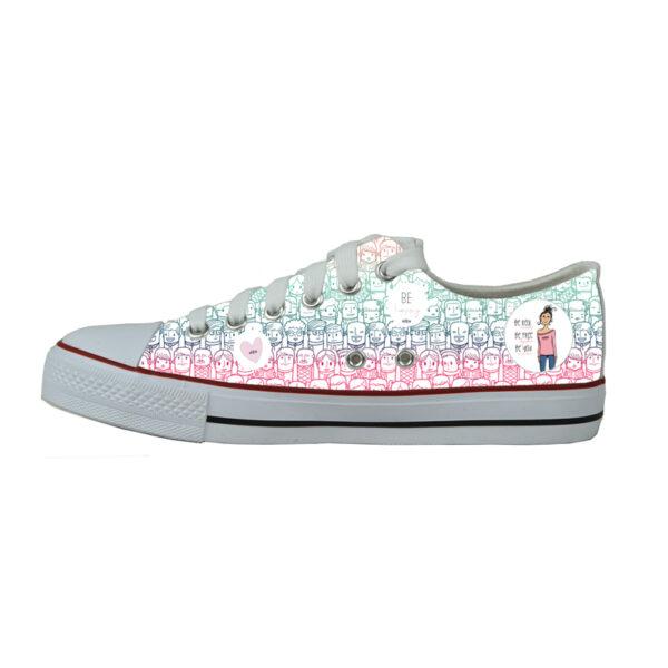 Sneaker Primie Collection weiß mit bunten Motiven auf den beiden Schuhseiten bedruckt