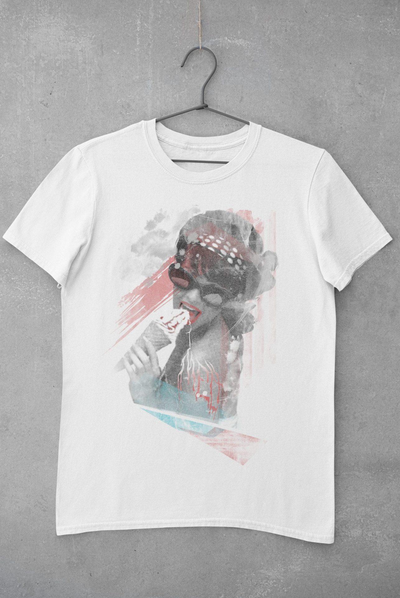 Frau Mit Eis T-Shirt weiß Bio-Baumwolle