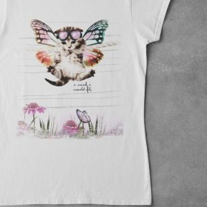 I-wish-I-could-fly T-Shirt weiß aus Bio-Baumwolle lustiges Katzenmotiv