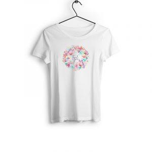 T-Shirt Positive Vibes weiß mit buntem Motiv aus Bio-Baumwolle