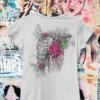 Skelett mit Blumen T-Shirt Bio-baumwolle fairtrade zertifiziert blumig-schauriges Motiv