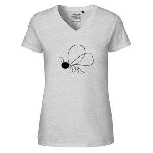 T-Shirt Biene Abstrakt Motiv in schwarz auf hellgrauem T-Shirt mit V-Ausschnitt aus Bio-Baumwolle Fairtrade zertifiziert