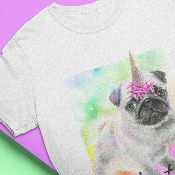 Was-Auch-Immer-Bulldogge Bio-T-Shirt in hellgrau meliert Motiv Bulldogge mit Eis auf dem Kopf