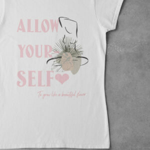 Allow Yourself T-Shirt weiß mit Motiv Lineart mit Slogan