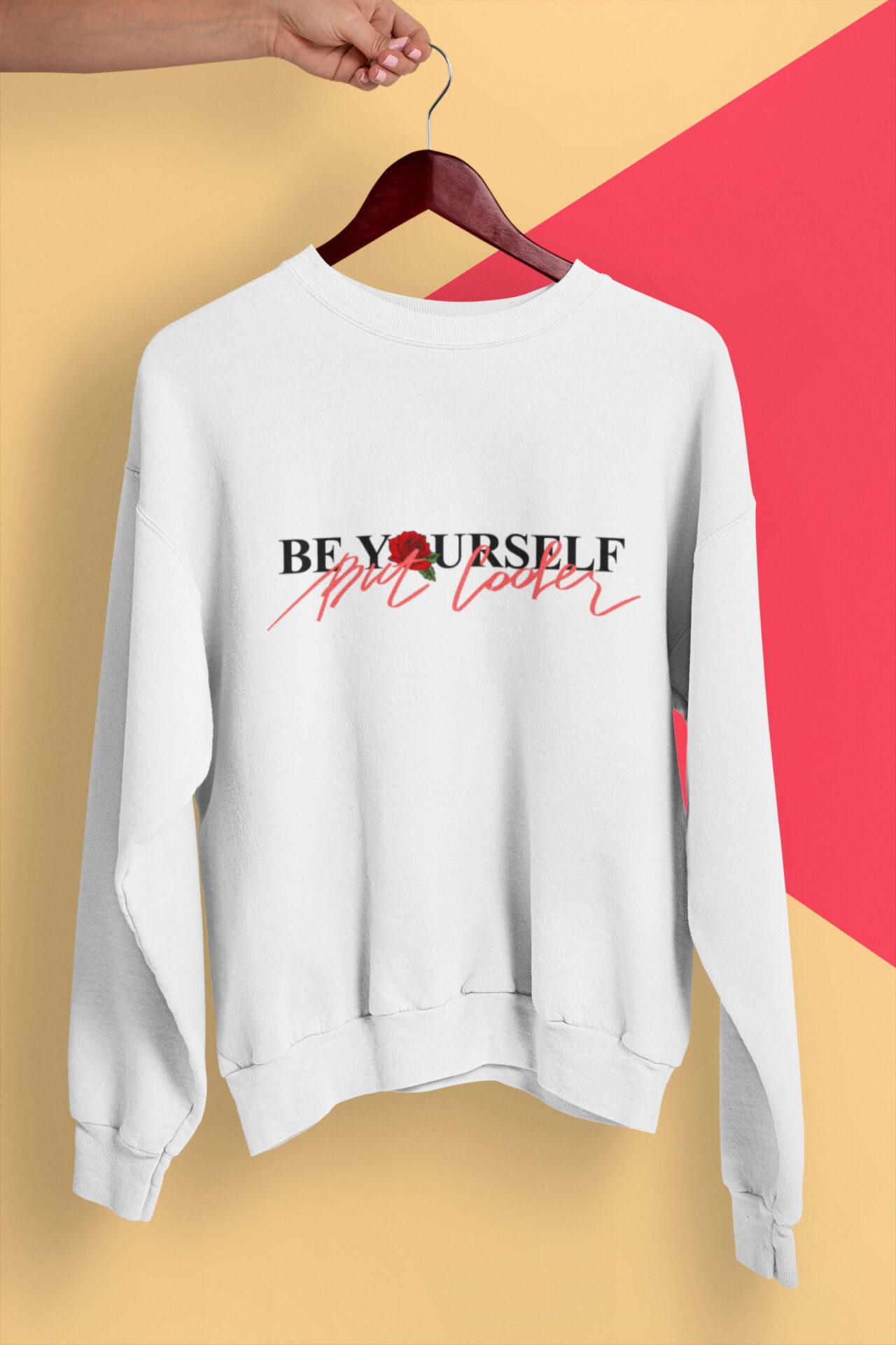 Be Yourself Sweatshirt weiß mit Slogan