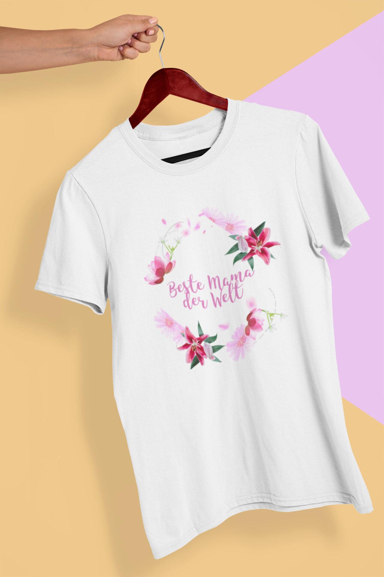 Beste Mama der Welt T-Shirt Bio-Baumwolle weiß Fairtrade zertifiziert Muttertagsgeschenk
