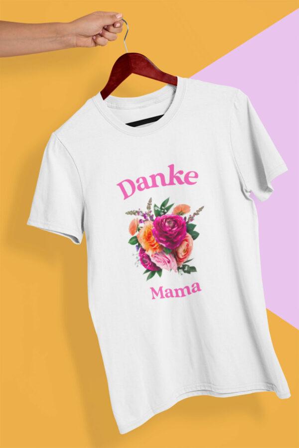 Danke Mama T-Shirt Bio-Baumwolle weiß als Muttertagsgeschenk