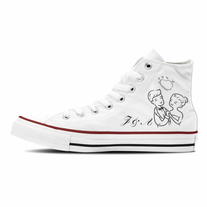 """""""I Do"""" Hochzeit Sneaker Brautschuhe aus weißem Canvasbaumwolle mit schwarzer Grafik"""