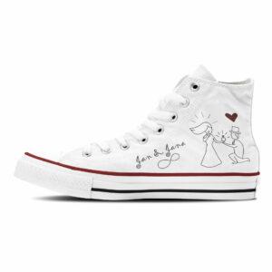 Marry Me Hochzeit Sneaker weiße Canvasschuhe Converse oder Classic mit schwarzer Hochzeitsgrafik