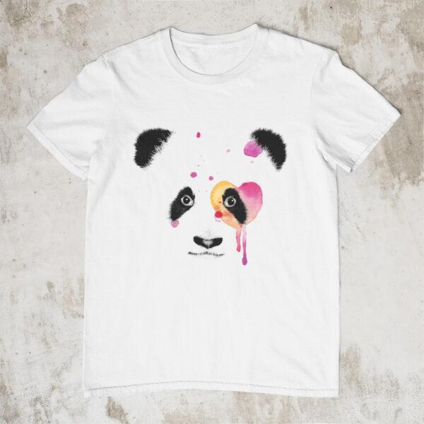 Panda mit Herz T-Shirt weiß aus Bio-baumwolle mit Tiermotiv
