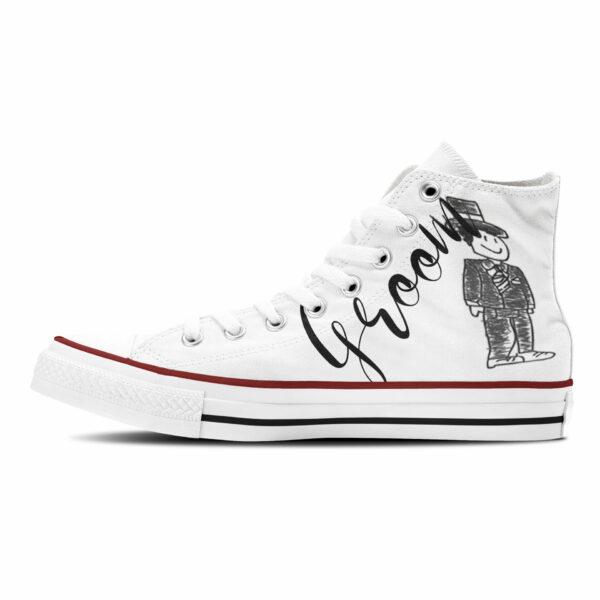 Sneaker Wedding Groom Hochzeitsschuhe für Herren high weiß mit schwarzer Grafik