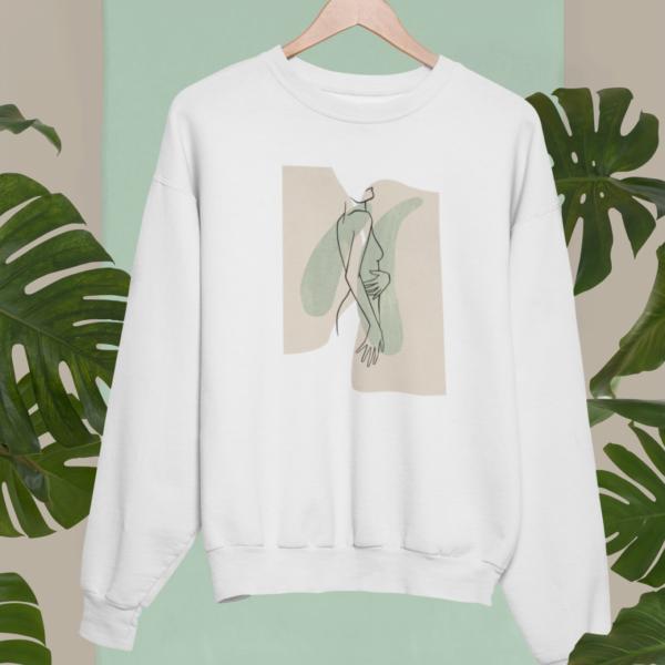 Sweatshirt Lineart Nackte Frau, grün und beige