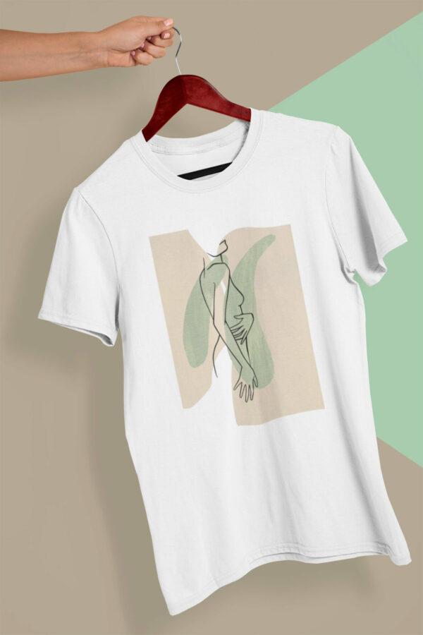 T-Shirt Lineart Nackte Frau Bio-Baumwolle weiß mir grün-beigem Motiv