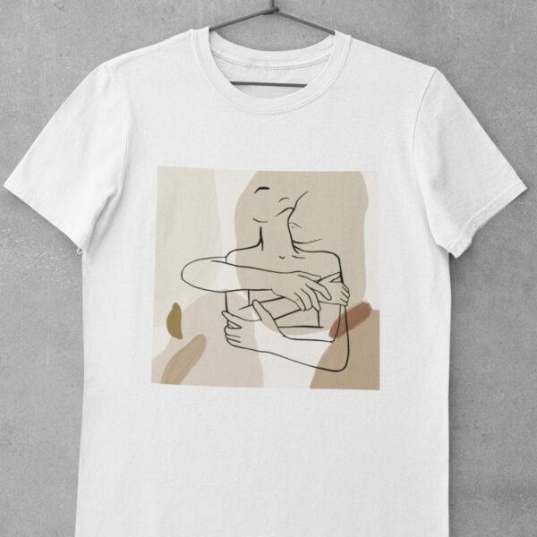 Umarmung T-Shirt Bio-Baumwolle Man und Frau Lineart