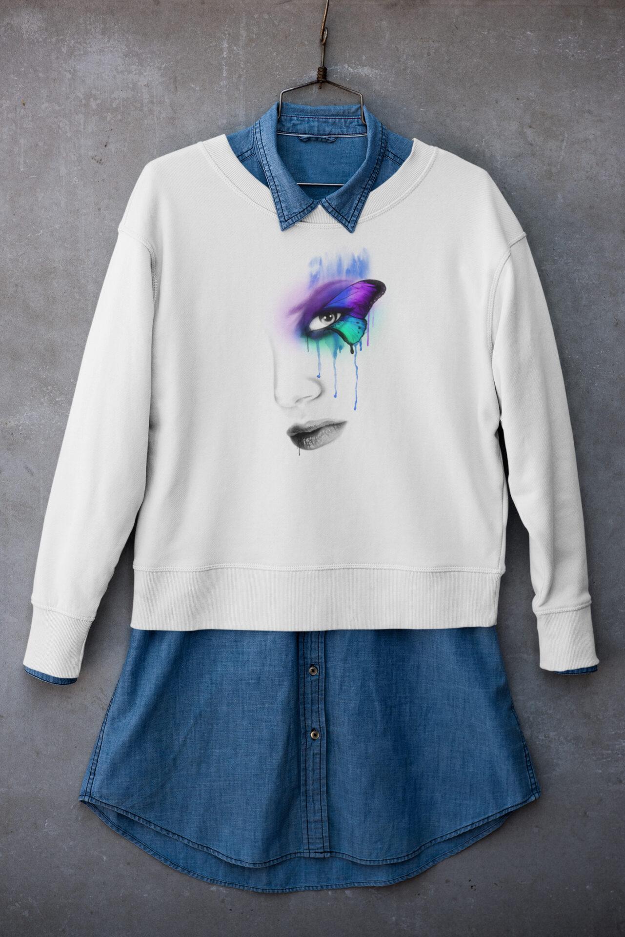 Sweatshirt Schmetterling im Auge weiß aus hochwertiger Bio-Baumwolle mit Motiv