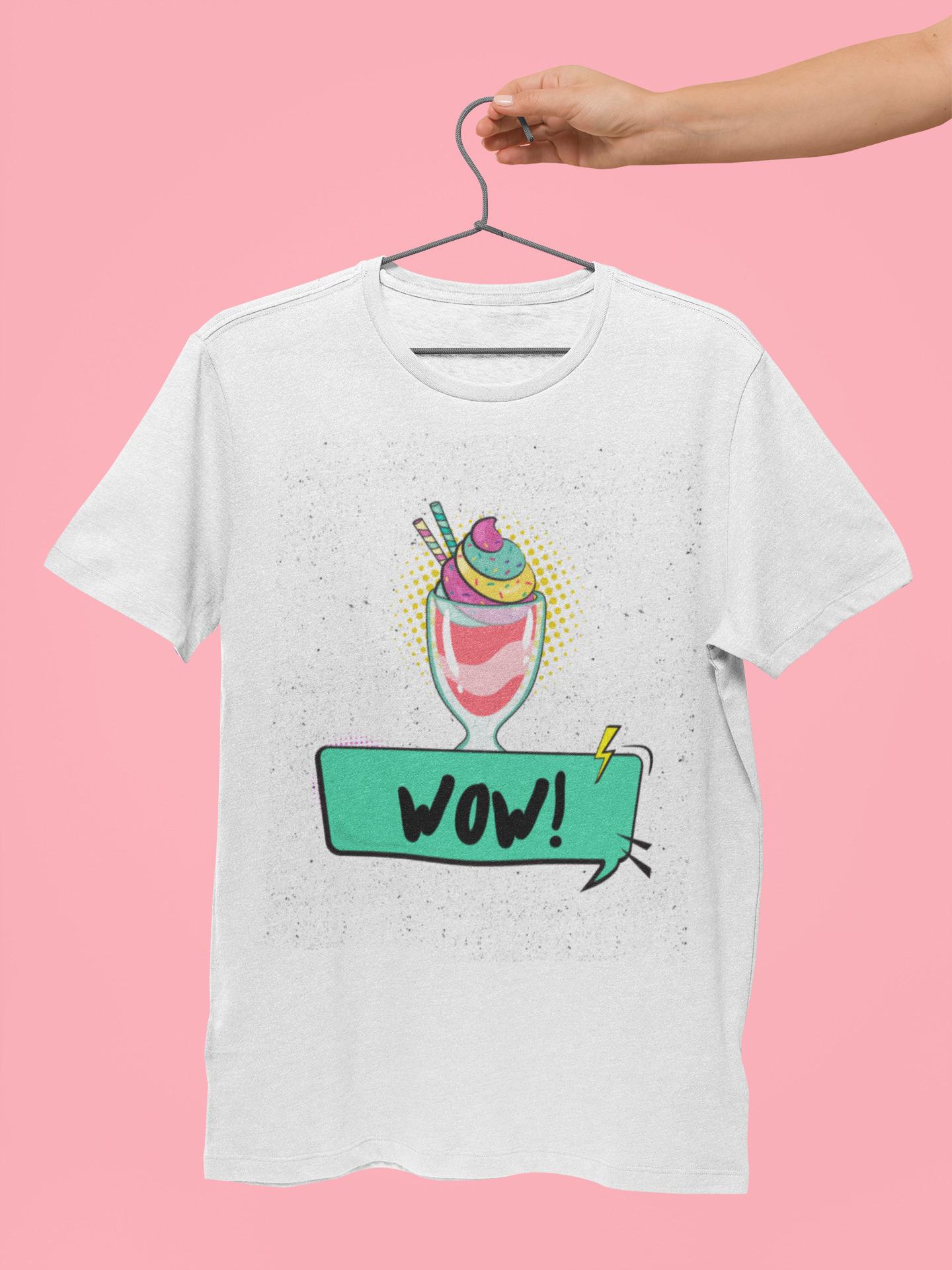 T-Shirt Pop Art Eis Becher Wow Motiv auf weiß